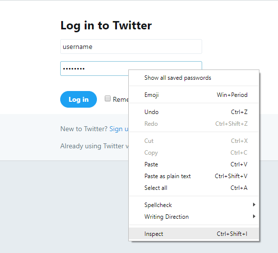 Right-click on password field then select Inspect or press Ctrl + Shift + I
