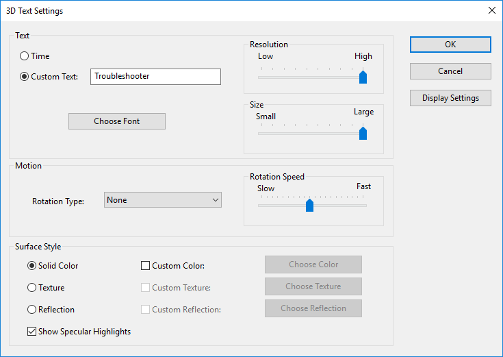 Select 3D Text then click on Settings and adjust text settings accordingly