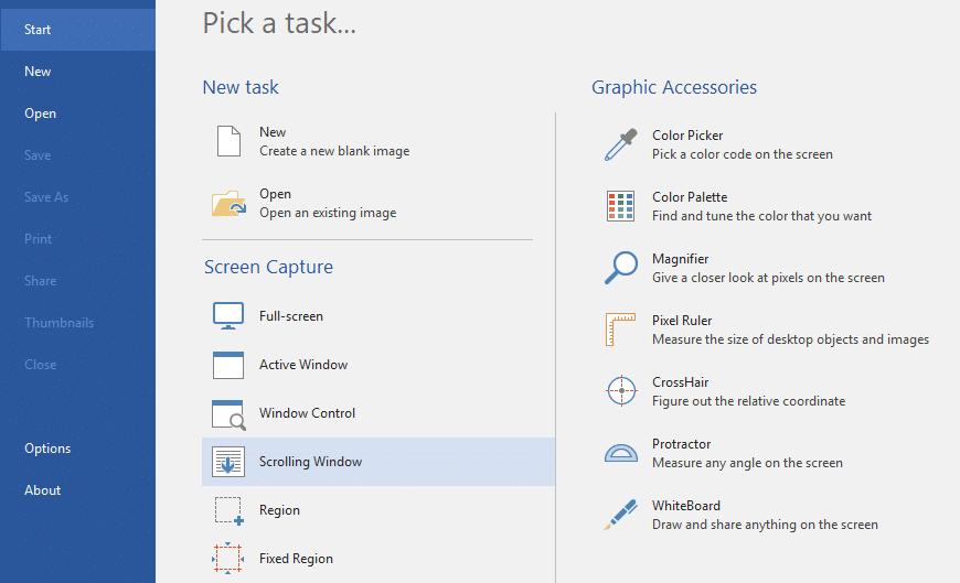 Select Scrolling Screenshot under PicPick
