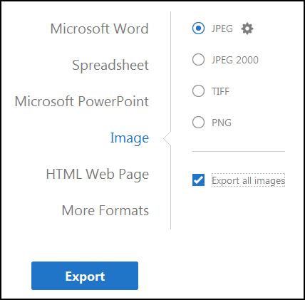 Select in which format you want to export the PDF file then checkmark Export all images