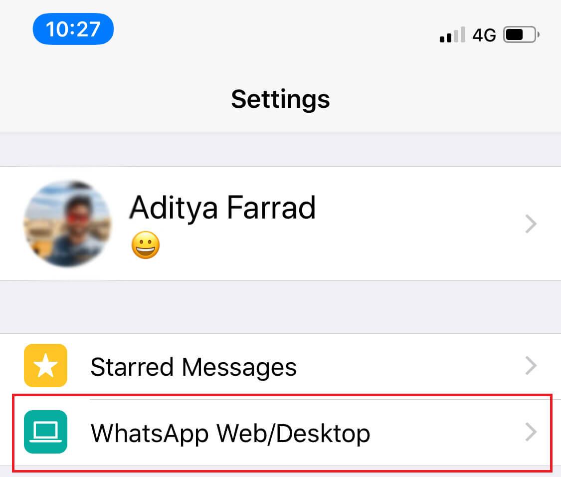 Select the WhatsApp Web option