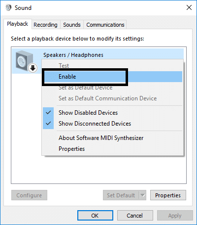Simply right-click on the device & select Enable