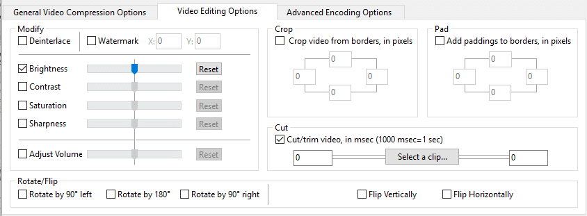 Switch to 'Video Editing Options' to edit your video
