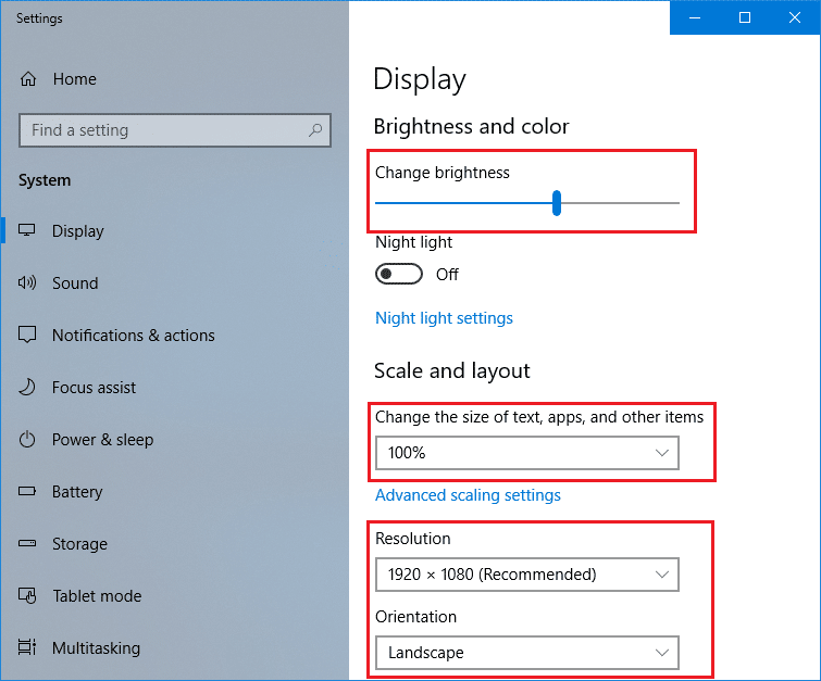 You will see a display setting panel where you can make changes in Text size and brightness of the screen