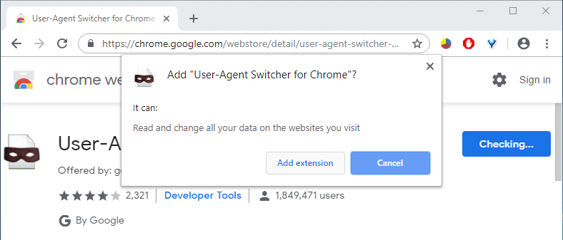 A pop-up will come up, click on Add extension | Access Mobile Websites Using Desktop browser