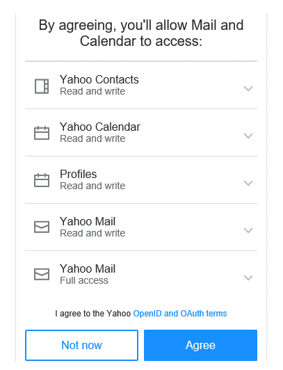 Agree to the terms and conditions of the Yahoo