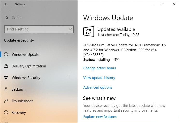 Check for Update Windows will start downloading updates