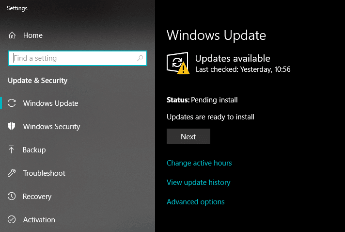 Check for updates to Fix Backspace Not Working in Windows 10
