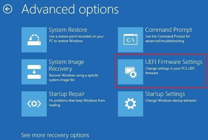 ChooseUEFI Firmware Settingsfrom the Advanced Options