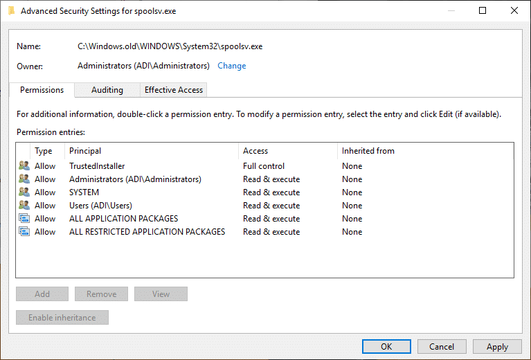 Click Apply followed by OK underAdvanced Security Settings window of spoolsv.exe