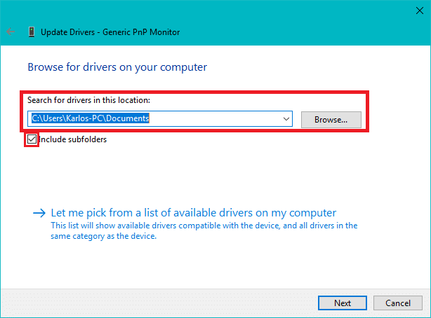 Click Browse button then checkmarkInclude subfolders   How to Update Device Drivers on Windows 10