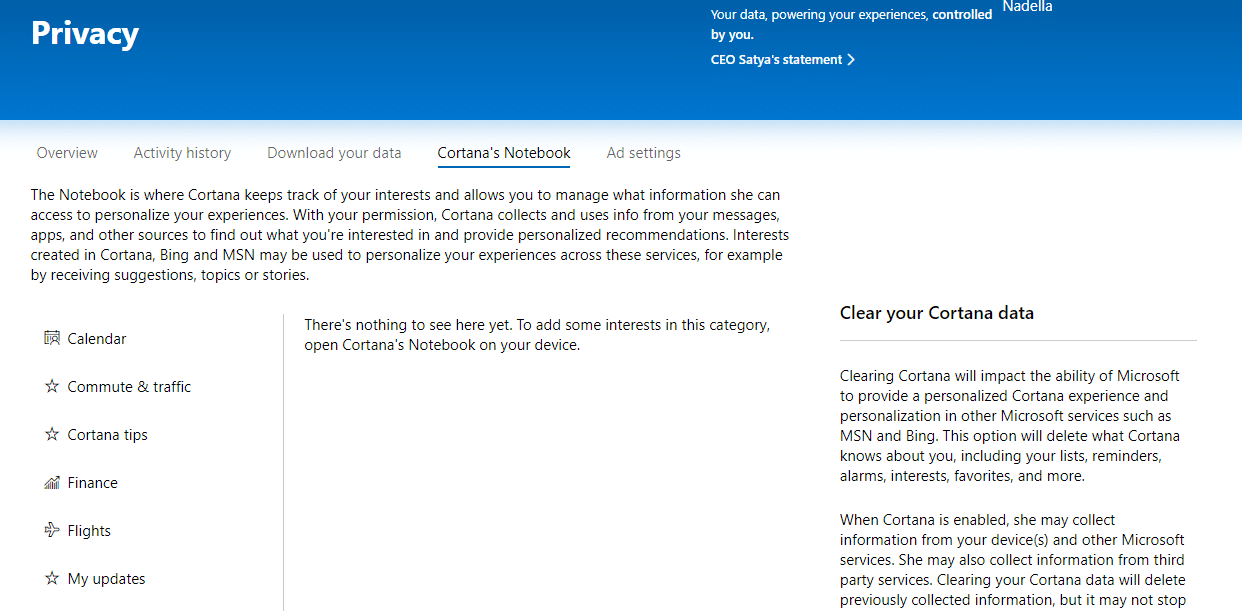 Click on 'Clear Cortana data' on the right side of the page to delete all information that Cortana has about you.