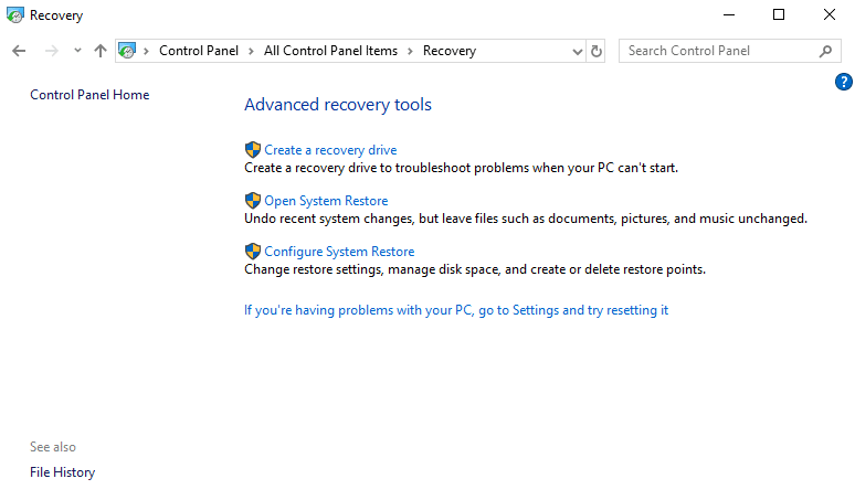 Click on 'Open System Restore' to undo recent system changes