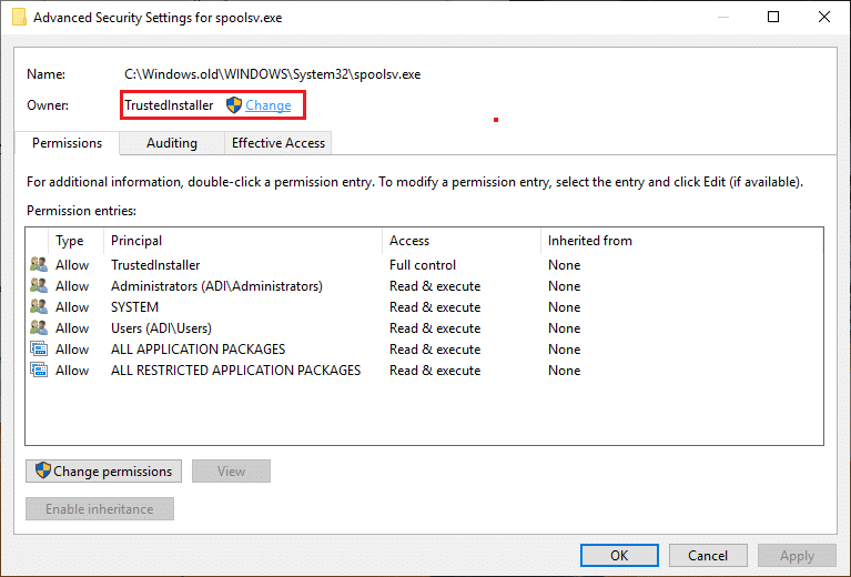 Click on Change next to the current Owner