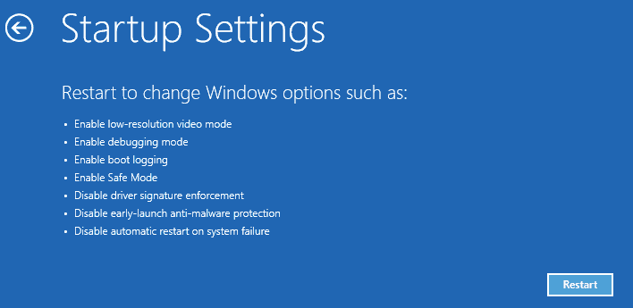 Click on the Restart button from the Startup settings window