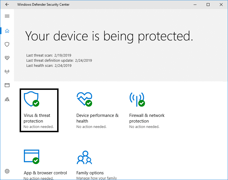 Click on the Virus & threat protection settings