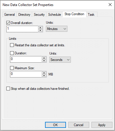 Customize the run duration for your data collector set
