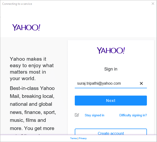 Enter your Yahoo Mail ID and Username | Set up Yahoo email account in Windows 10 Mail App