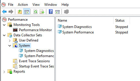 Expand Data Collector Sets then click on System under Performance Monitor