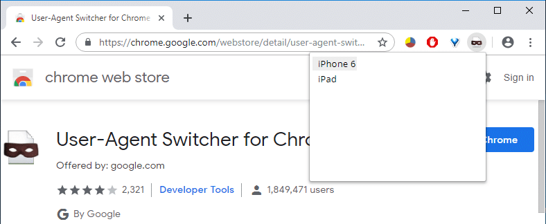 From User Agent Switcher extension select any device such as Android or iOS