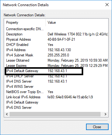 Here you will see IP address next to IPv4 Default gateway. | Find My Router's IP Address