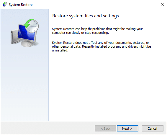 Now from the Restore system files and settings window click onNext