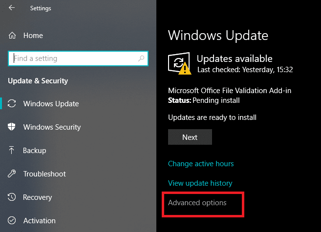 """Now under Windows Update click on""""Advanced"""" options"""