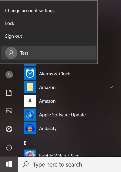 Open Start Menu and you will see the other User's icon | Fix Calculator Not Working in Windows 10