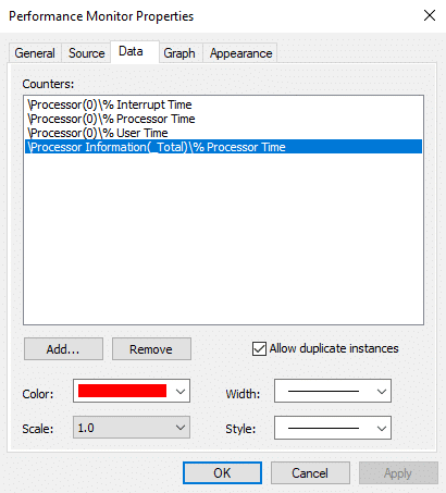 Performance Monitor Properties window will open, from there switch to the 'Data' tab