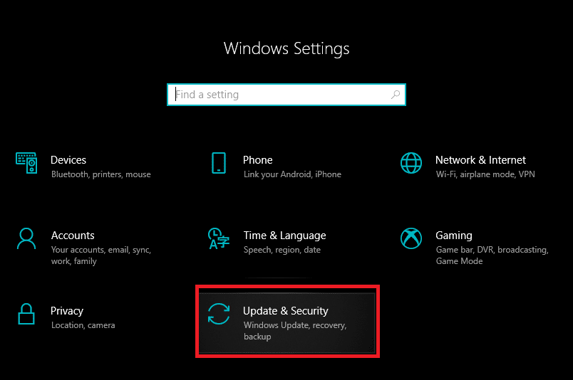 Press Windows Key + I to open Settings then click onUpdate & Security | New Hard Drive not showing up