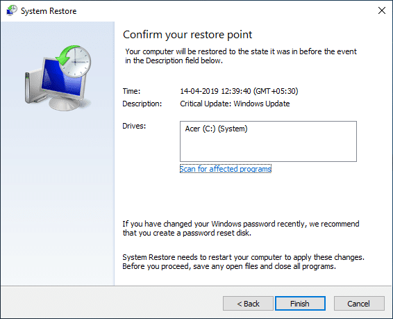 Review all the settings you configured and click Finish