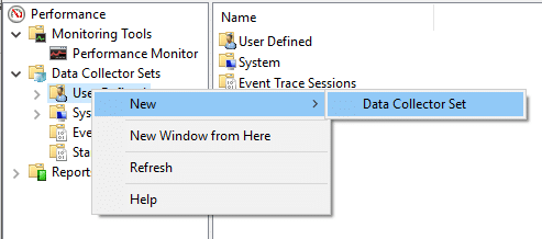 Right click on 'User Defined' then select New and click on 'Data Collector Set'