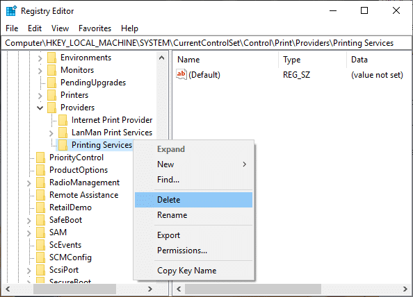 Right-click onPrinting Services then select Delete