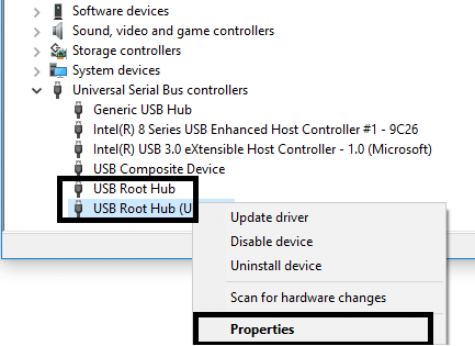 Right-click on each USB Root Hub and navigate to Properties