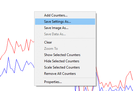 Right-click on the graph and select 'Save settings as' from the menu