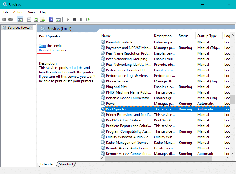 Scroll down & look for Print Spoolerservice and then select it