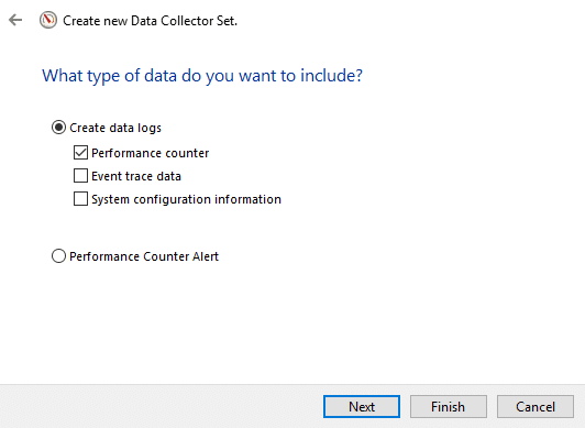 Select'Create data logs' optionand check the'Performance counter' checkbox