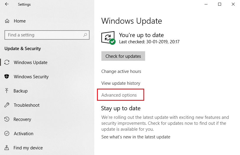 Select 'Windows update' from the left pane and click on 'Advanced options'