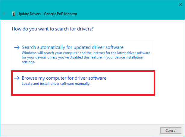 Select Browse my computer for driver software to update device drivers