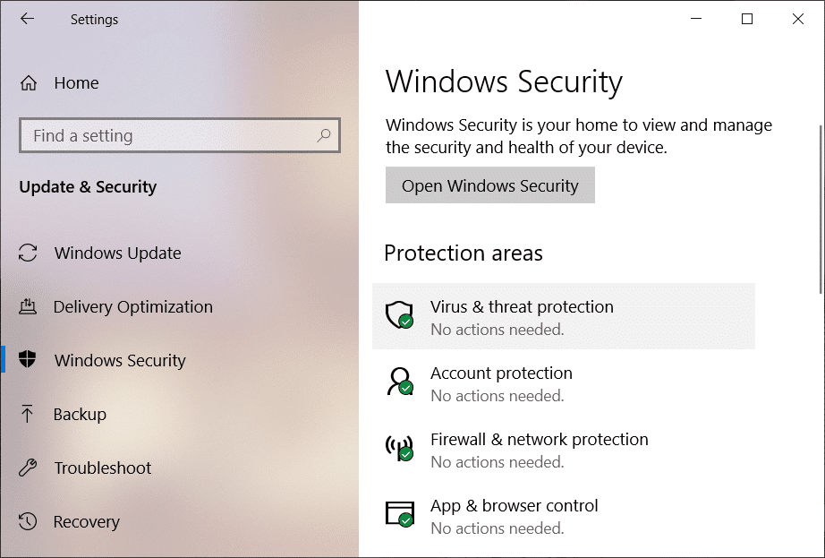 Select Windows Security then click on Virus & threat protection