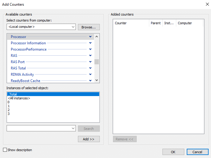 Select the name of your computer from theSelect counters from computer dropdown