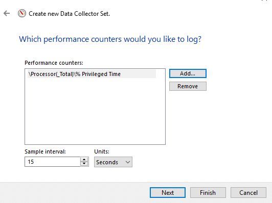 Set the sample interval, to decide when the Performance Monitor takes samples