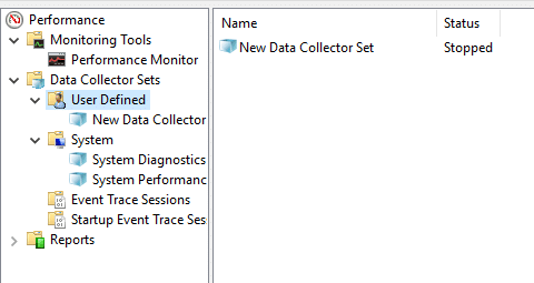 This set will available in the User Defined section of the Data Collector Sets