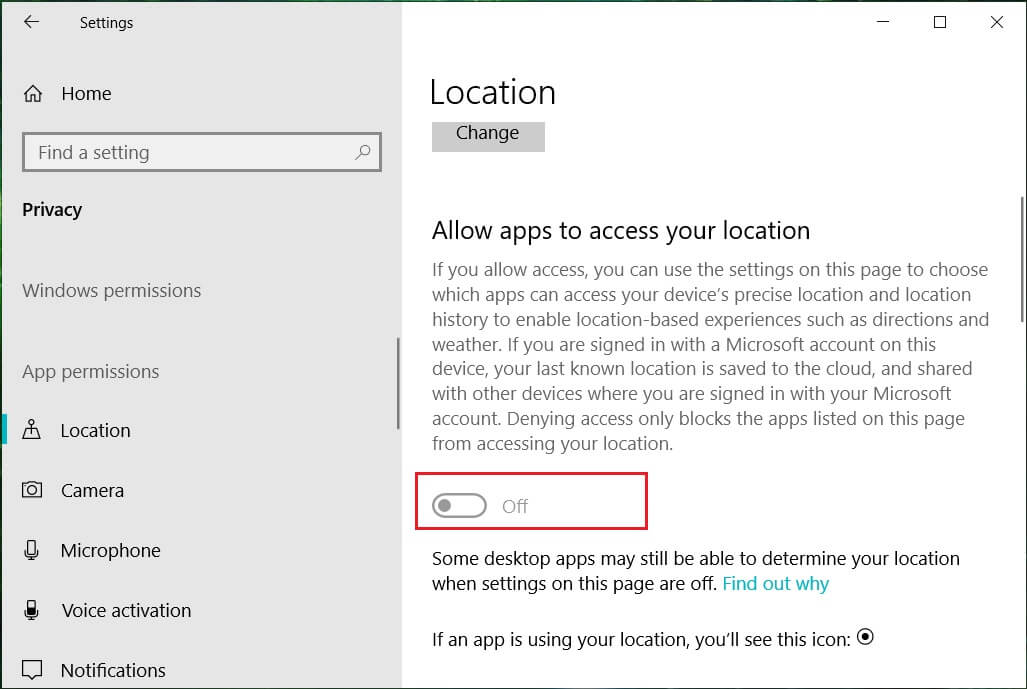 Toggle off the apps access to your location