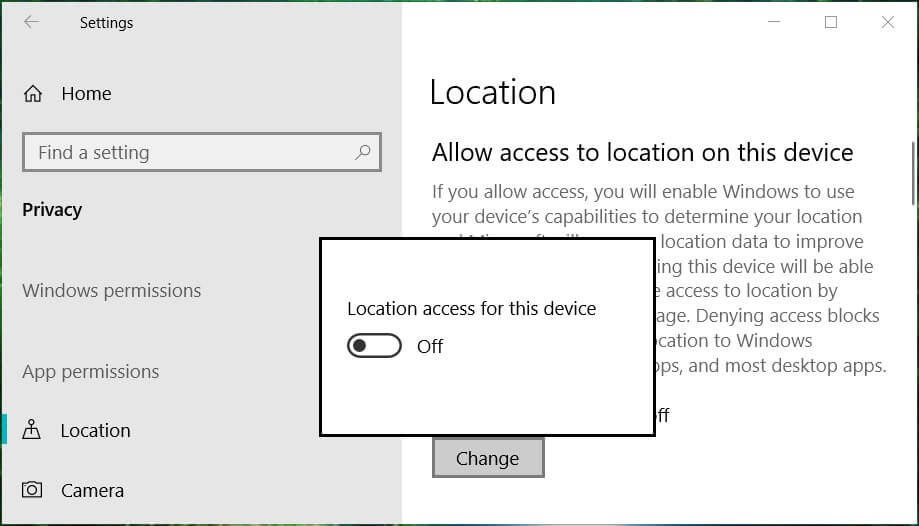 Turn off location tracking for all of them by clicking on Change