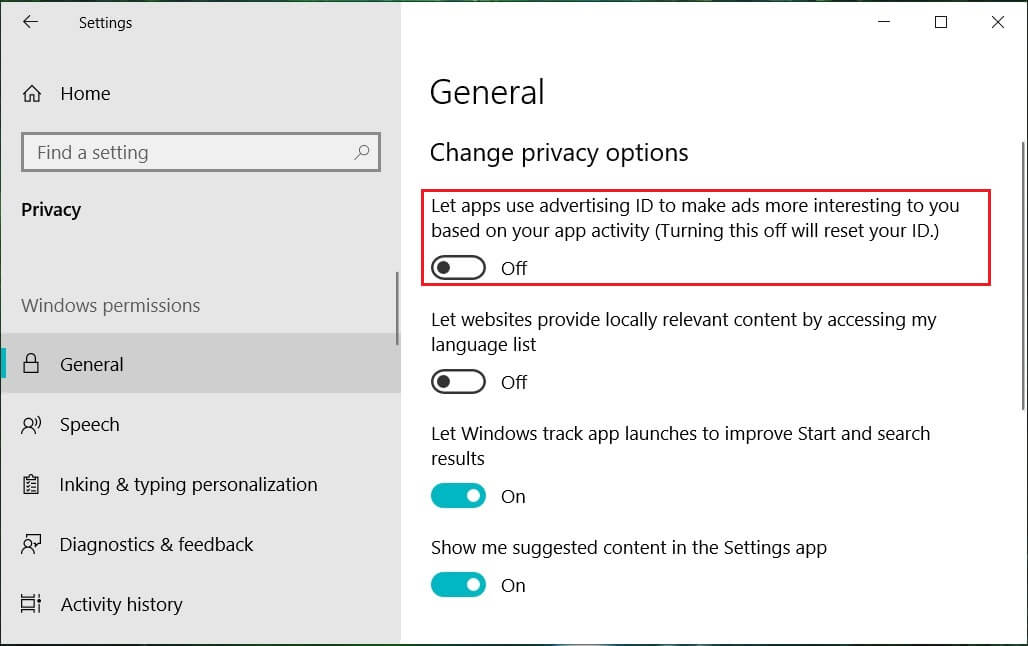 Turn off the Let apps use my advertising ID for experience across apps | Disable Data Collection in Windows 10 (Protect Your Privacy)