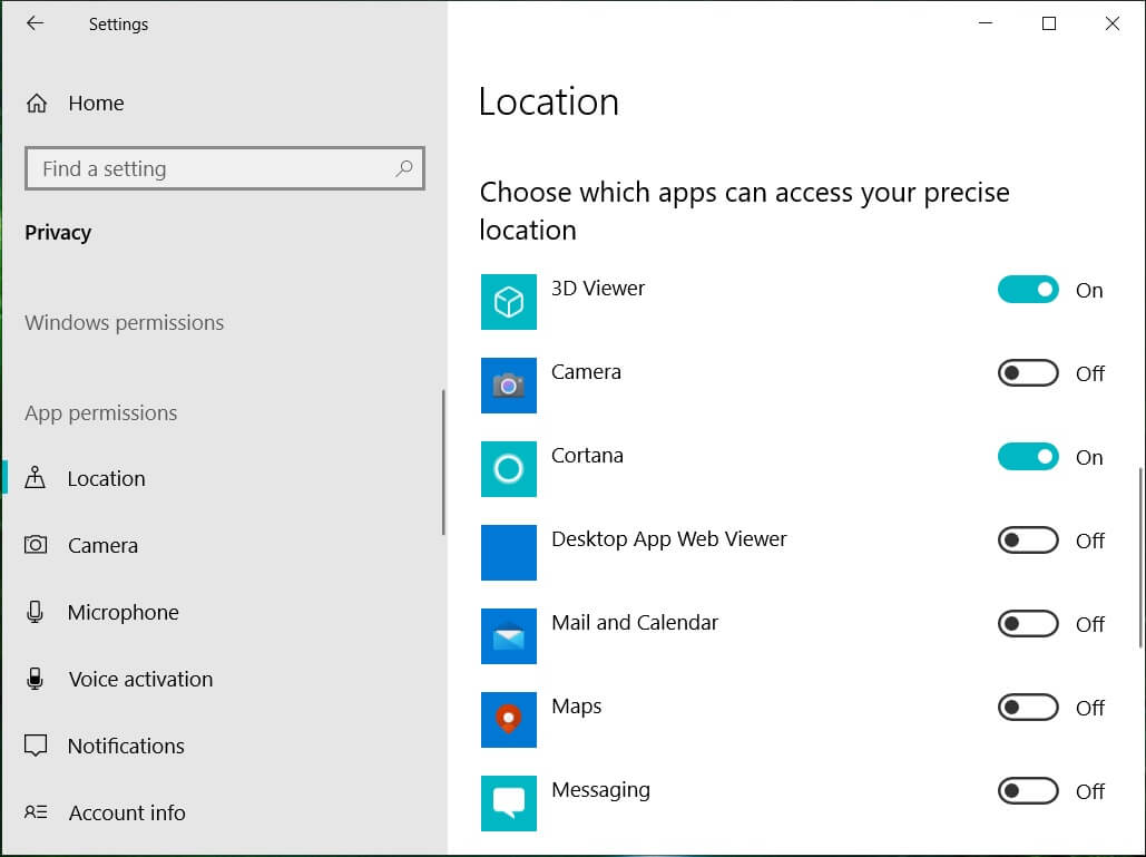 Turn on and off the switch for apps as you require