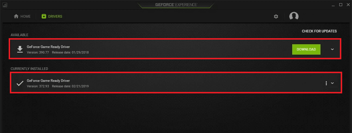 Update the driver from NVIDIA Geforce Experience Control Panel