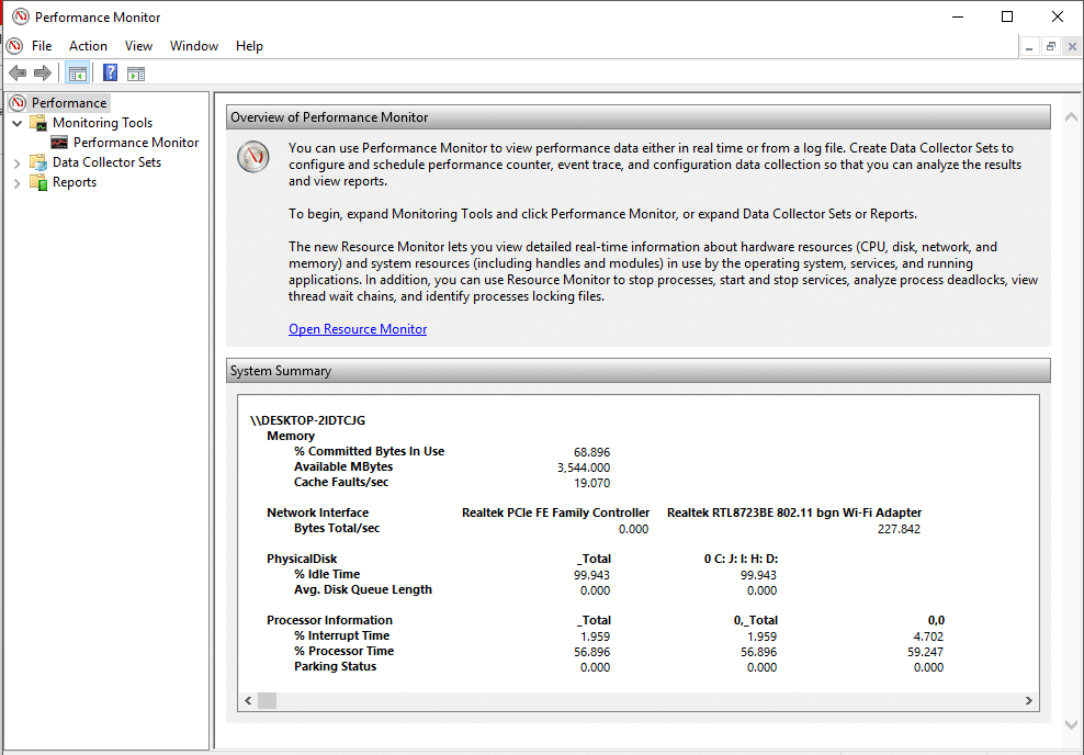 When you first open Performance Monitor, you will see the overview and system summary