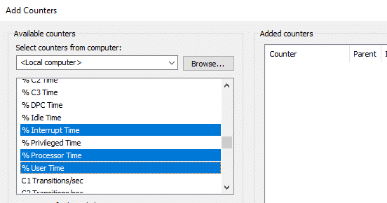 You can add more than one counters | How to Use Performance Monitor on Windows 10